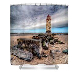 Lighthouse At Talacre  Shower Curtain