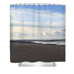 Lighthouse At Talacre Shower Curtain by Spikey Mouse Photography