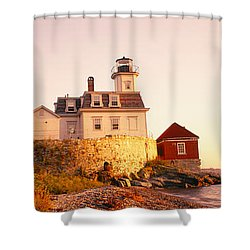 Lighthouse At The Coast, Rose Island Shower Curtain