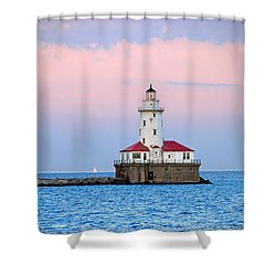 Lighthouse At The Navy Pier Shower Curtain by Lynn Bauer
