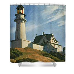 Lighthouse At Two Lights Shower Curtain by Edward Hopper