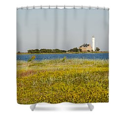 Lighthouse At Yellow Coast Shower Curtain