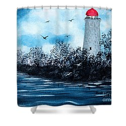 Lighthouse Blues Shower Curtain by Barbara Griffin