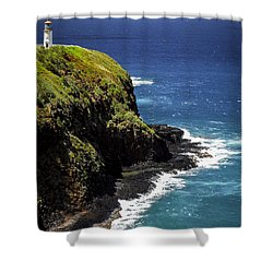 Shower Curtain featuring the photograph Lighthouse By The Pacific by Debbie Karnes
