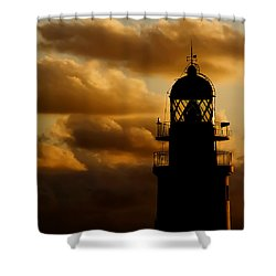 lighthouse dawn in the north coast of Menorca Shower Curtain