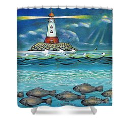 Lighthouse Fish 030414 Shower Curtain