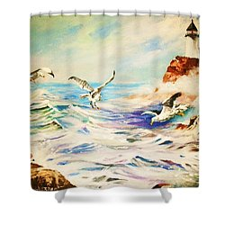 Lighthouse Gulls And Waves Shower Curtain by Al Brown
