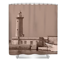 Lighthouse Marsala Shower Curtain