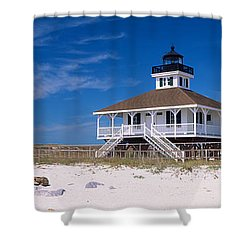 Lighthouse On The Beach, Port Boca Shower Curtain by Panoramic Images