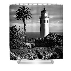 Shower Curtain featuring the photograph Lighthouse On The Bluff by Jerry Cowart