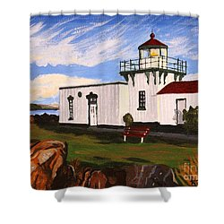 Lighthouse Point No Point Shower Curtain by Vicki Maheu