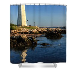 Lighthouse Reflected Shower Curtain by Karol Livote