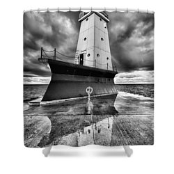 Lighthouse Reflection Black And White Shower Curtain by Sebastian Musial