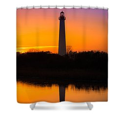 Lighthouse Silhouette Shower Curtain by Michael Ver Sprill