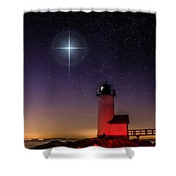 Shower Curtain featuring the photograph Lighthouse Star To Wish On by Jeff Folger