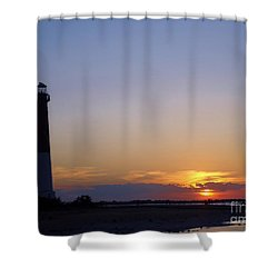 Lighthouse Sunset Shower Curtain by Art Dingo