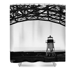 Lighthouse Under Golden Gate Shower Curtain by Holly Blunkall