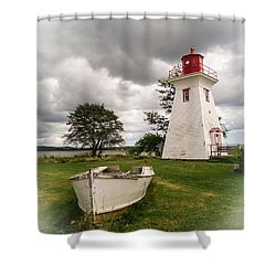 Lighthouse Victoria By The Sea Pei Shower Curtain by Edward Fielding