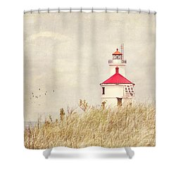 Lighthouse With Red Roof Shower Curtain