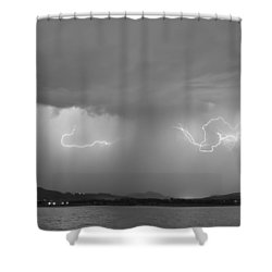 Lightning And Rain Over Rocky Mountain Foothills Bw Shower Curtain by James BO  Insogna
