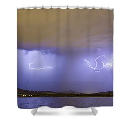 Lightning And Rain Over Rocky Mountain Foothills Shower Curtain by James BO  Insogna
