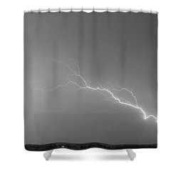 Lightning Bolts Coming In For A Landing Panorama Bw Shower Curtain by James BO  Insogna
