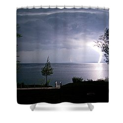 Lightning On Lake Michigan At Night Shower Curtain by Mary Lee Dereske