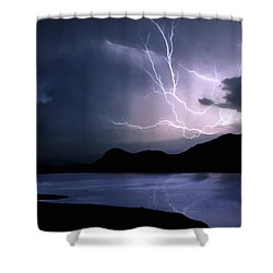 Lightning Over Quartz Mountains - Oklahoma Shower Curtain by Jason Politte