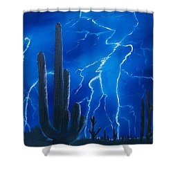 Lightning  Over The Sonoran Shower Curtain by Sharon Duguay