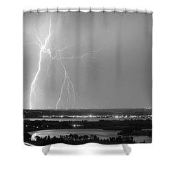 Lightning Strike Boulder Reservoir And Coot Lake Bw Shower Curtain by James BO  Insogna