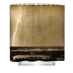 Lightning Strike Boulder Reservoir And Coot Lake Sepia 2 Shower Curtain by James BO  Insogna