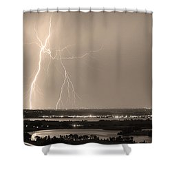 Lightning Strike Boulder Reservoir And Coot Lake Sepia Shower Curtain by James BO  Insogna