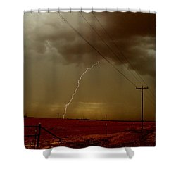 Lightning Strike In Oil Country Shower Curtain by Ed Sweeney