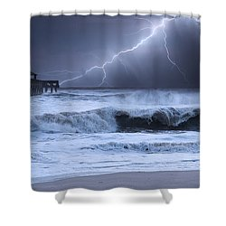 Lightning Strike Shower Curtain by Laura Fasulo
