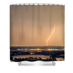 Lightning Striking Over Coot Lake And Boulder Reservoir Shower Curtain by James BO  Insogna