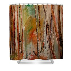 Shower Curtain featuring the painting Like The Trees Always Looking Up by PainterArtist FIN