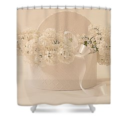 Lilac Purity In A Box Shower Curtain by Sandra Foster