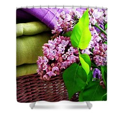 Lilac Still Life Shower Curtain by Lainie Wrightson