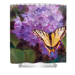 Lilacs And Swallowtail Butterfly Shower Curtain