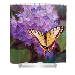 Lilacs And Swallowtail Butterfly Purple Flowers Garden Decor Painting  Shower Curtain