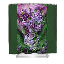 Lilacs In Lilac Vase Shower Curtain by Carol Cavalaris