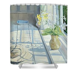 Lilies And A Straw Hat Shower Curtain by Timothy Easton