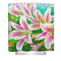 Shower Curtain featuring the painting Lilies  by Hidden  Mountain