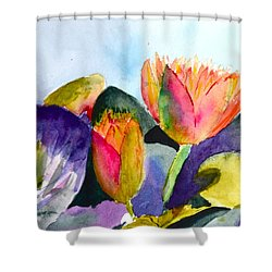 Lilies Of The Water Shower Curtain by Beverley Harper Tinsley