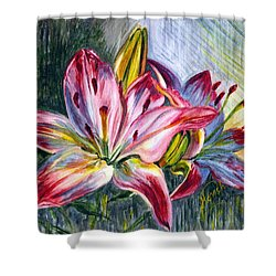 Shower Curtain featuring the painting Lilies Twin by Harsh Malik