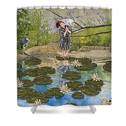 Shower Curtain featuring the digital art Lilly Pad Lane by Liane Wright
