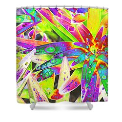 Lily Leaves Raindrops Shower Curtain by Carol Lynch