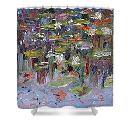 Shower Curtain featuring the painting Lily Pad Life by Michael Helfen
