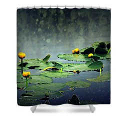 Lily Pads In The Rain At Vernonia Lake Shower Curtain by Dawna Morton