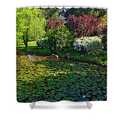 Lily Pond And Colorful Gardens Shower Curtain by Kaye Menner